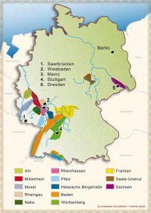Karte: Wein-Anbauregionen in Deutschland