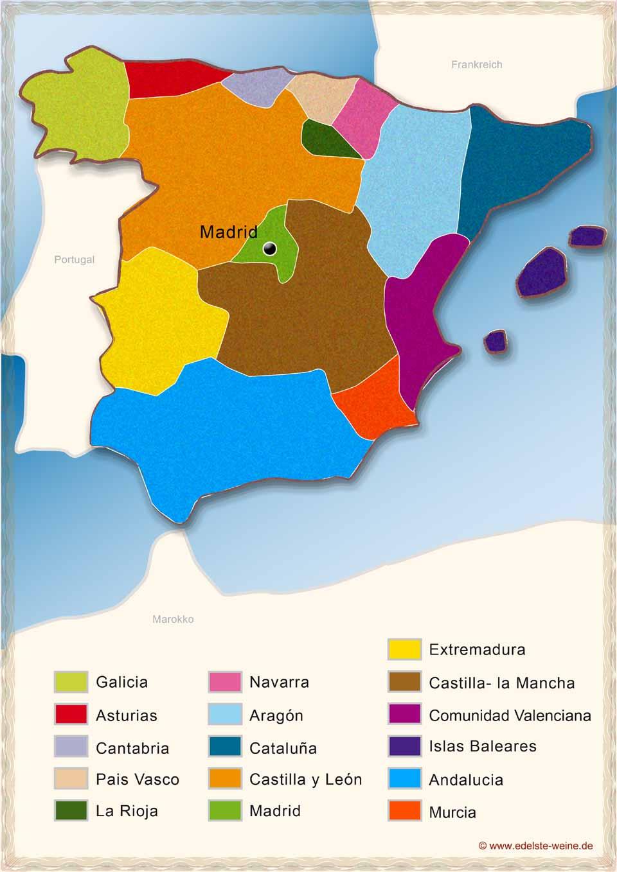 Spanien Regionen Karte.Spanischer Wein Seit Jahrtausenden In Aller Munde