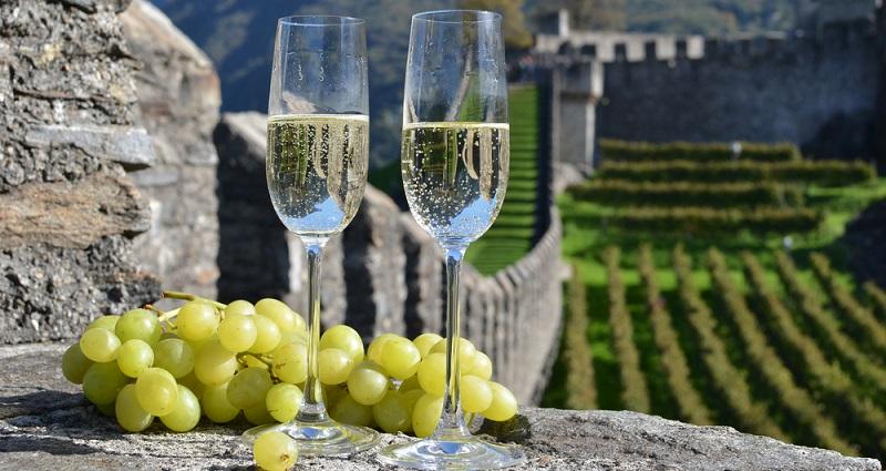 Wenn Sie besten Champagner trinken möchten, haben Sie die Auswahl aus mehreren verschiedenen Rebsorten. (#02)